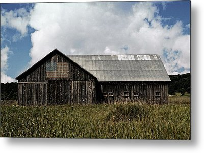 Rustic Buildings With Flag Photographs Metal Prints