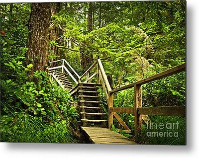 Wooden Stairs Metal Prints