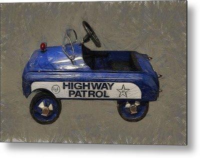 Police Cruiser Digital Art Metal Prints