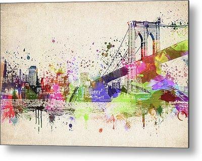Brooklyn Bridge Mixed Media Metal Prints