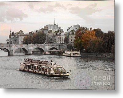 Boat Along The River Metal Prints