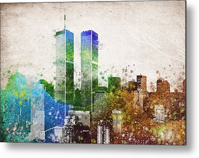 Twin Towers Trade Center Mixed Media Metal Prints