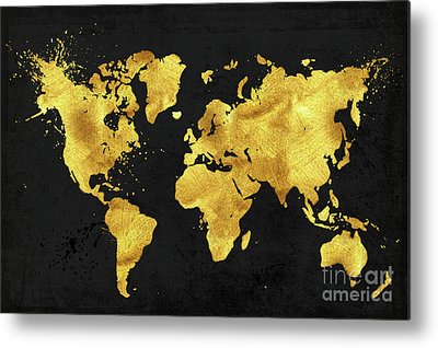Metallic World Map Art Fine Art America - Black and gold world map