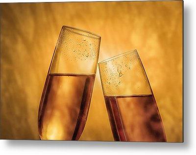 Wine Sipping Metal Prints