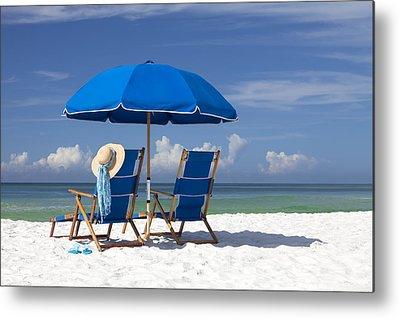 Beach Umbrellas Metal Prints