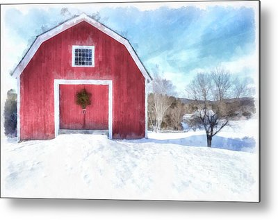 New England Snow Scene Digital Art Metal Prints