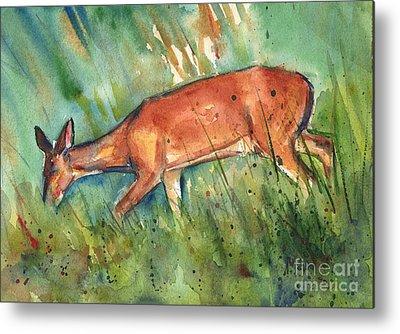 Deer On Beach Metal Prints