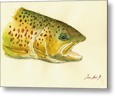 Trout Watercolor Metal Prints