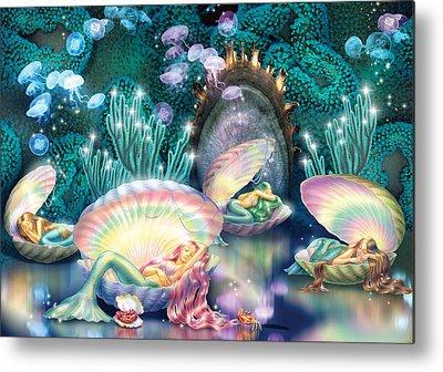 Sleeping Mermaid Metal Prints