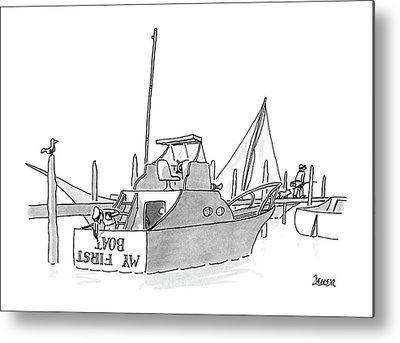 Yacht Drawings Metal Prints