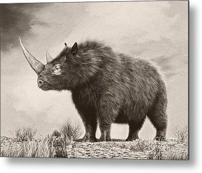 One Horned Rhino Digital Art Metal Prints
