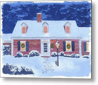 New England Snow Scene Metal Prints
