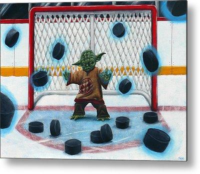 Goalie Paintings Metal Prints