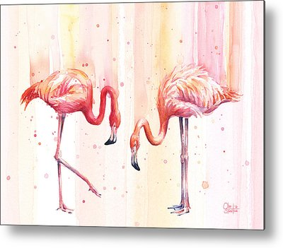 Flamingos Metal Prints
