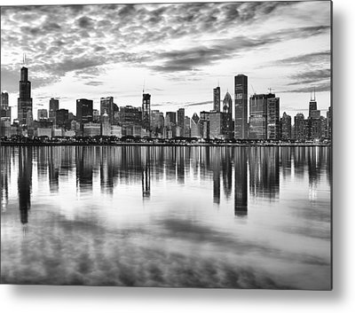 Chicago Skyline Bw Metal Prints