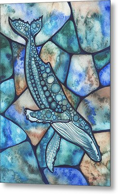 Turquoise Stained Glass Metal Prints