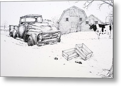 Truck Grill. Fence Drawings Metal Prints