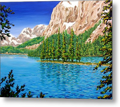 Lake Paintings Metal Prints