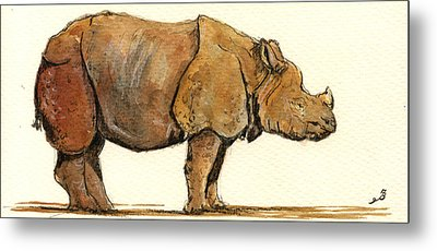 One Horned Rhino Paintings Metal Prints