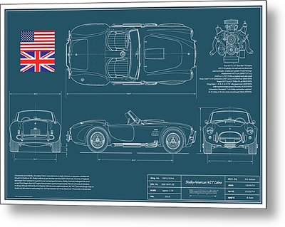Car blueprint art fine art america car blueprint metal prints malvernweather Gallery