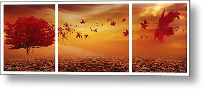 Falling Leaf Metal Prints