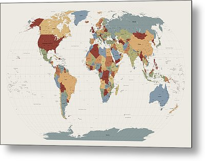 Map Of The World Metal Prints