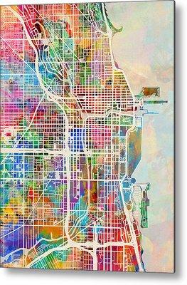 Map Of Chicago Digital Art Metal Prints