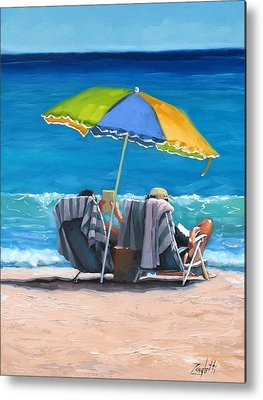 People On Beach Metal Prints