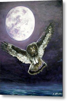 Birds In Flight At Night Paintings Metal Prints