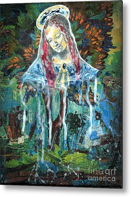 Spiritual Portrait Of Woman Mixed Media Metal Prints