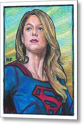 Supergirl Drawings Metal Prints