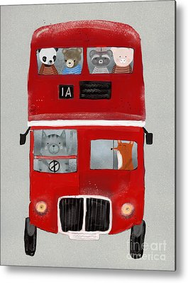 Red Bus Paintings Metal Prints