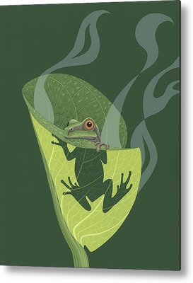 Green Tree Frogs Paintings Metal Prints