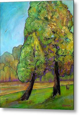 Pine Trees Paintings Metal Prints
