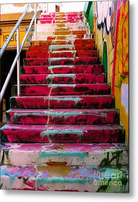 Downtown Stairs Metal Prints