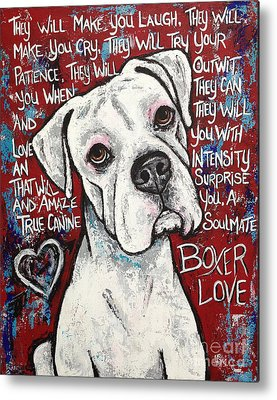 White Boxer Dog Metal Prints