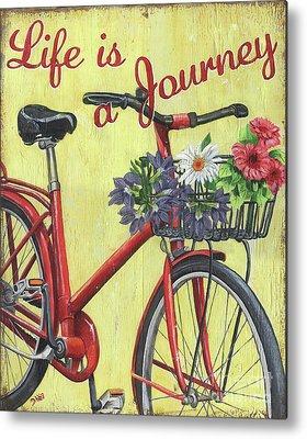 Flowers Bike Metal Prints