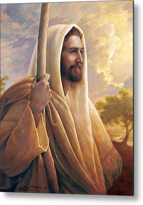 Smiling Jesus Paintings Metal Prints