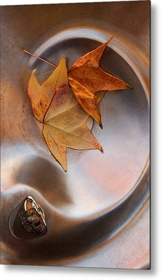 Abstract Water And Fall Leaves Metal Prints