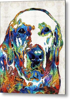 Dog Playing Ball Metal Prints