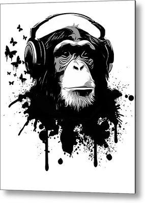 Chimpanzee Digital Art Metal Prints