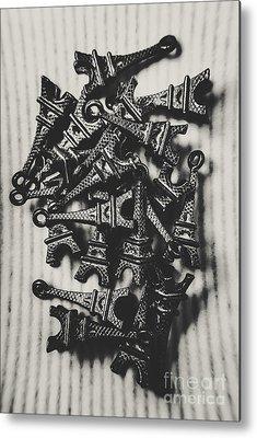 Black And White Ornamental Metal Prints
