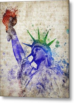 Statue Of Liberty Mixed Media Metal Prints