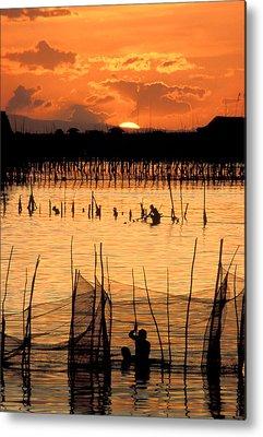 Wade Fishing Metal Prints