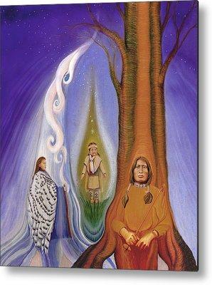 Native American Spirit Portrait Drawings Metal Prints