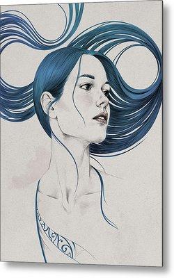 Hair Drawing Metal Prints