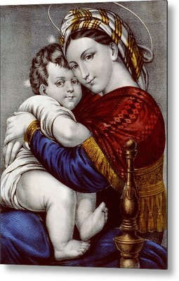 Caring Mother Drawings Metal Prints