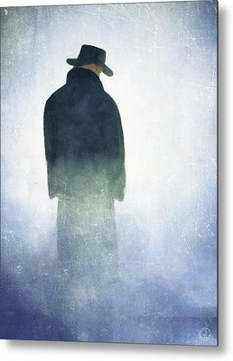Man Standing In The Fog Metal Prints