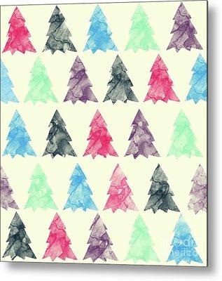 Pine Trees Drawings Metal Prints