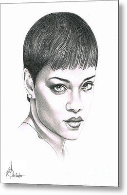 Rihanna Drawing Metal Prints